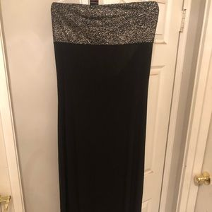 Scoop Back Long Black and Silver Maxi Dress